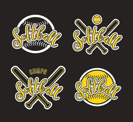 Emblem of softball. Graphic design for t-shirt and stickers. Vector illustration on black background