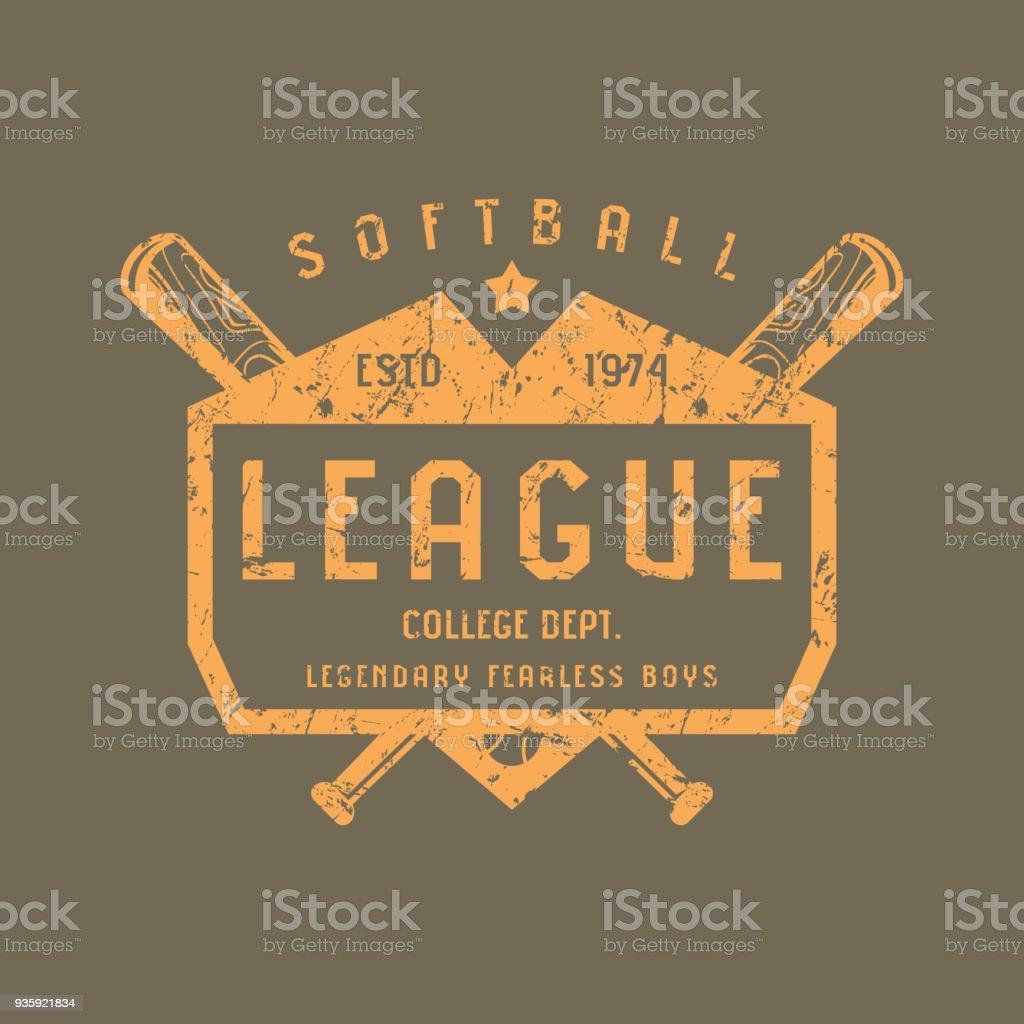 Emblema del equipo de Softbol - ilustración de arte vectorial