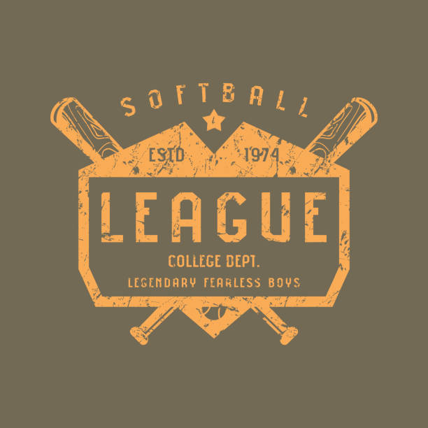 emblem of softball team - softball stock illustrations, clip art, cartoons, & icons