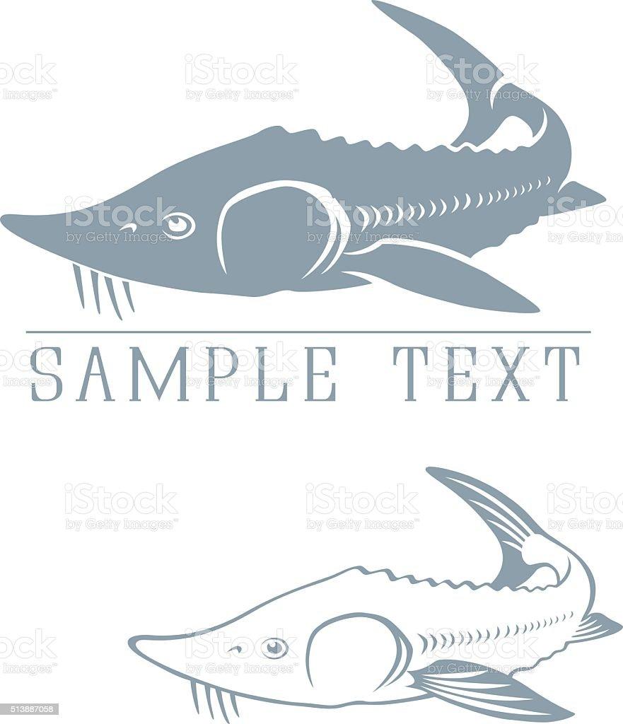 emblem of sturgeon vector art illustration