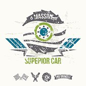 Emblem of the massive superior car in retro style