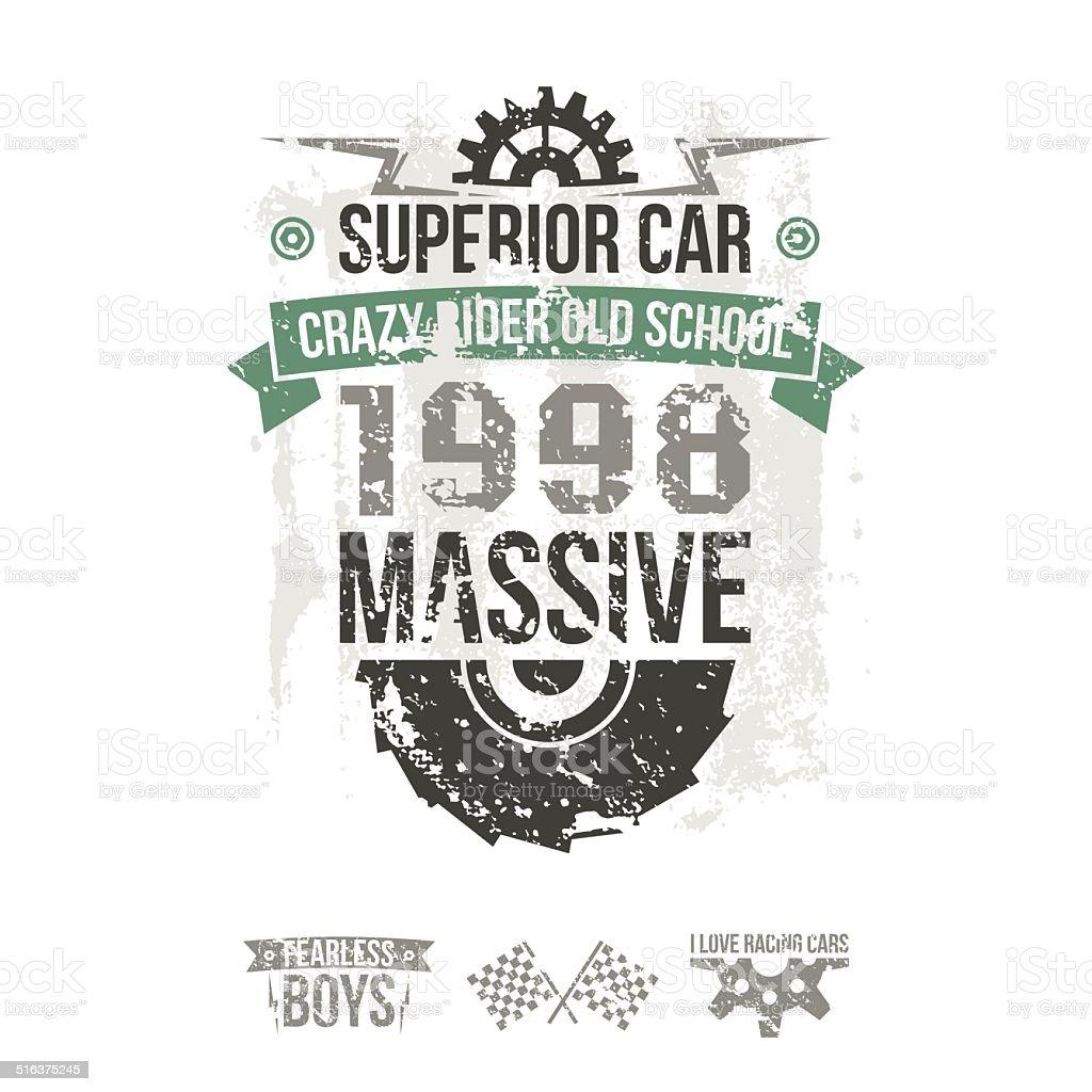 Emblem of the massive superior car in retro style