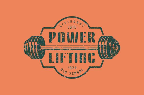 Emblem of the powerlifting club vector art illustration
