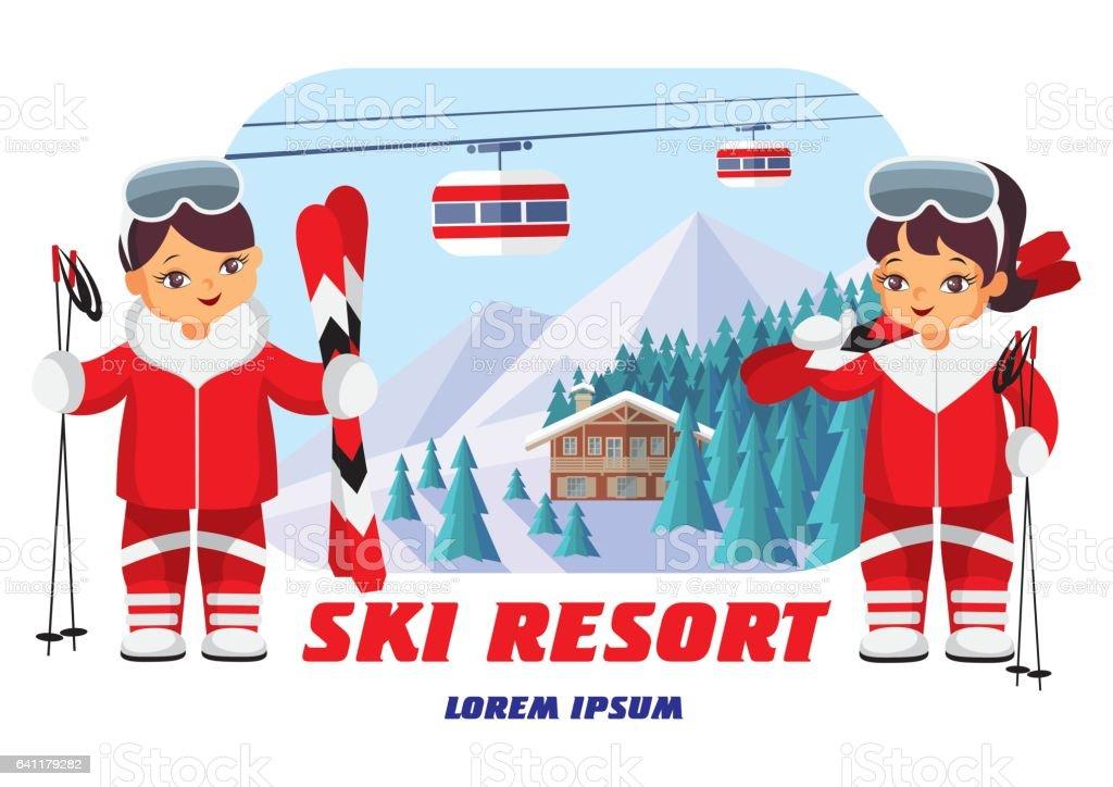 emblem of the ski resort vector art illustration