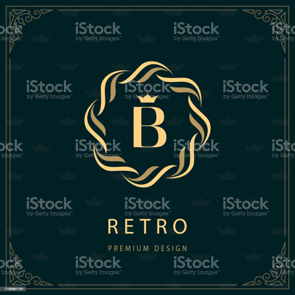 織造圈的標誌。字母 B. 字母表優雅範本。簡單的標誌設計豪華波峰, 版稅, 名片, 精品店, 酒店, 紋章。書法復古邊框。向量 - 免版稅創作性圖庫向量圖形