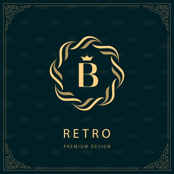 godło kręgu tkania. litera b. monogram wdzięku szablon. prosty projekt logo dla luxury crest, royalty, wizytówka, boutique, hotel, heraldic. kaligraficzne vintage granicy. wektor - insygnia stock illustrations