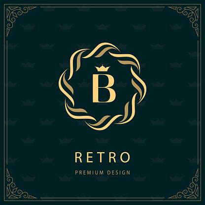 織造圈的標誌字母 B 字母表優雅範本簡單的標誌設計豪華波峰 版稅 名片 精品店 酒店 紋章書法復古邊框向量向量圖形及更多創作性圖片