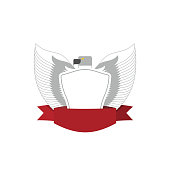 Emblem of White Bird with shield. Hawk military logo.