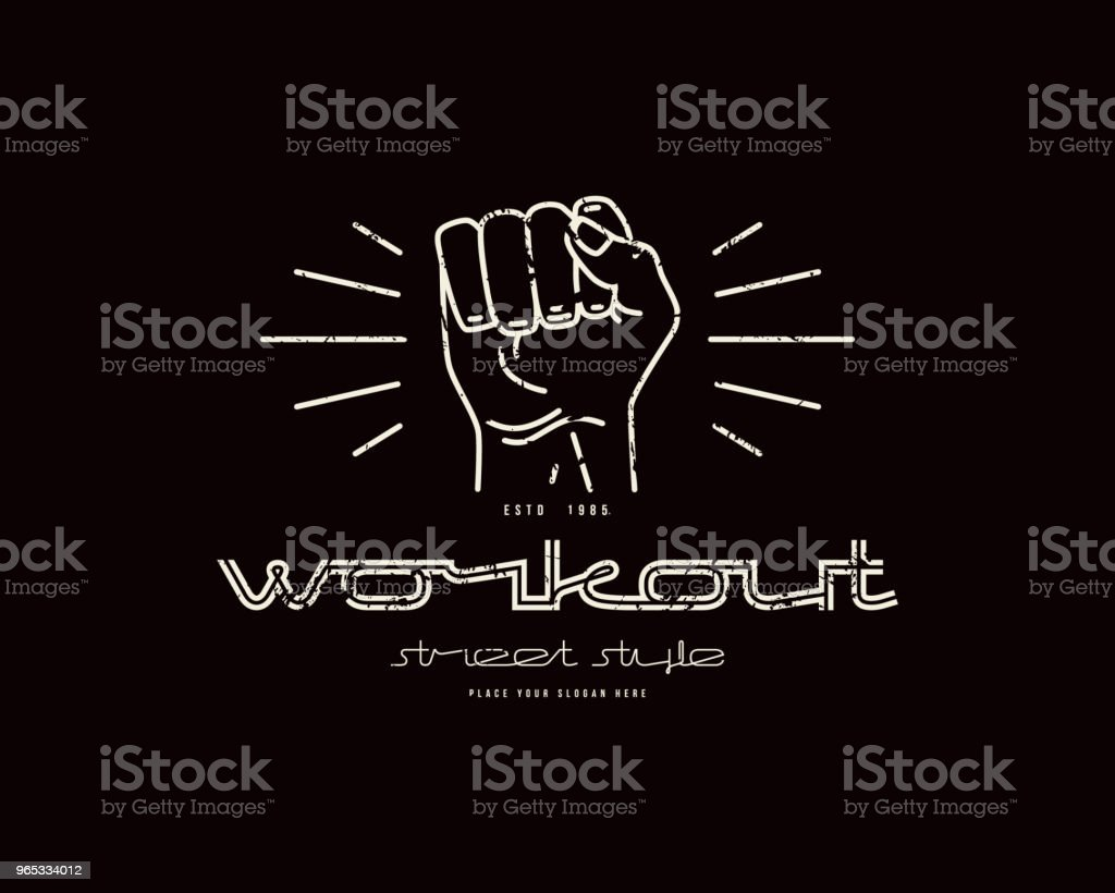 Emblem of workout club with a image of a fist emblem of workout club with a image of a fist - stockowe grafiki wektorowe i więcej obrazów autorytet royalty-free