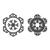 istock Emblem of world snow day line and solid icon, Winter holidays concept, snowflake sign on white background, january world sporty holiday event label icon in outline style for mobile. Vector graphics. 1284846130