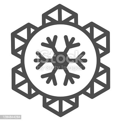 istock Emblem of world snow day line icon, Winter holidays concept, snowflake sign on white background, january world sporty holiday event label icon in outline style for mobile. Vector graphics. 1284844264