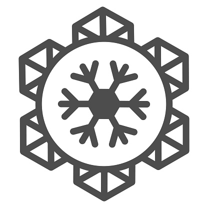 Emblem of world snow day line icon, Winter holidays concept, snowflake sign on white background, january world sporty holiday event label icon in outline style for mobile. Vector graphics.