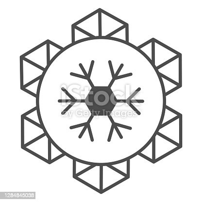 istock Emblem of world snow day thin line icon, Winter holidays concept, snowflake sign on white background, january world sporty holiday event label icon in outline style for mobile. Vector graphics. 1284845038