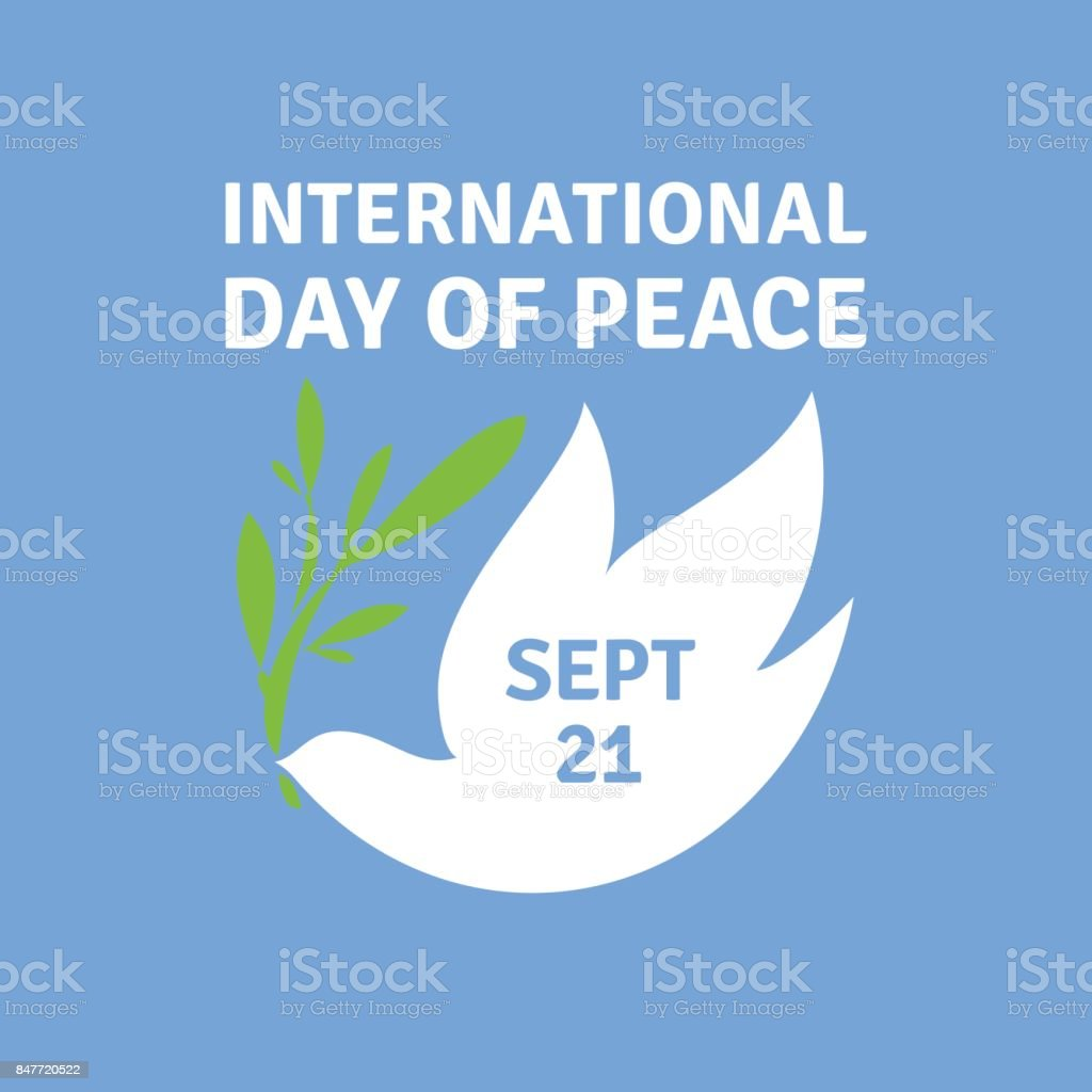 emblem or icon for international day of peace with elegant dove holding olive branch royalty
