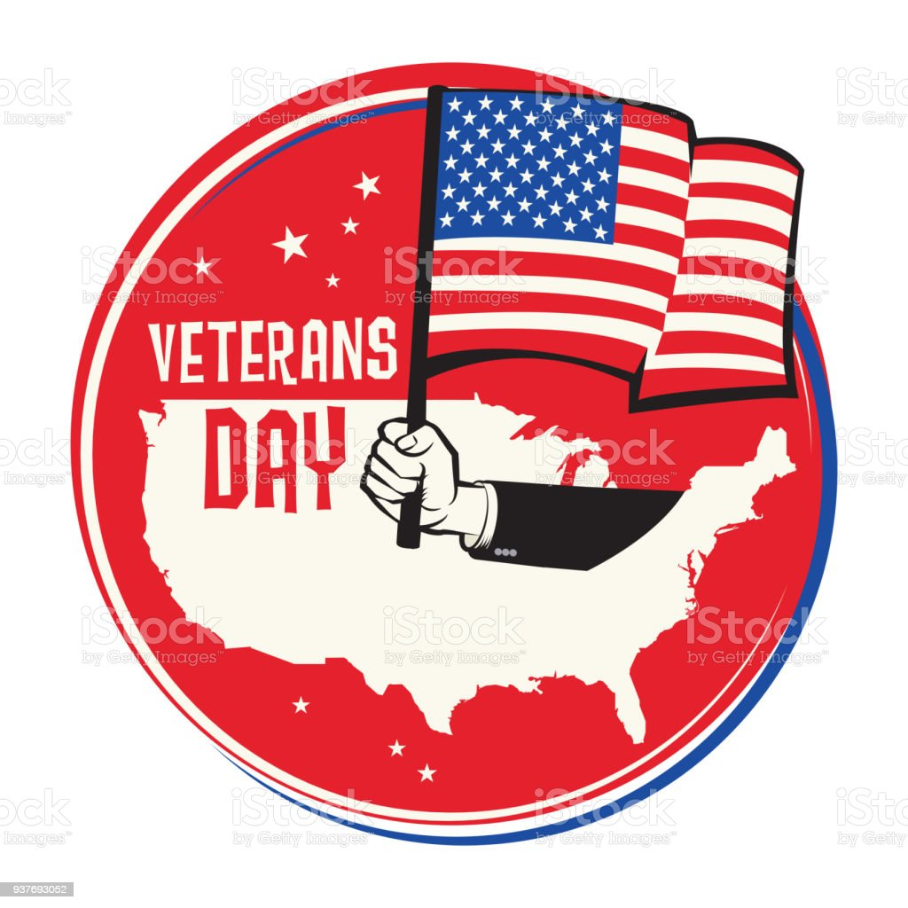 Emblem Or Label With National Flag Colors Usa Veterans Day Greeting