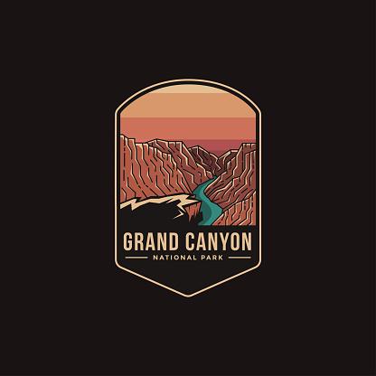 Emblem patch illustration of Grand Canyon National Park on dark background