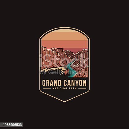Emblem patch illustration of Grand Canyon National Park on dark background
