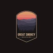 istock Emblem patch illustration of Great Smokey Mountains National Park on dark background 1268596549