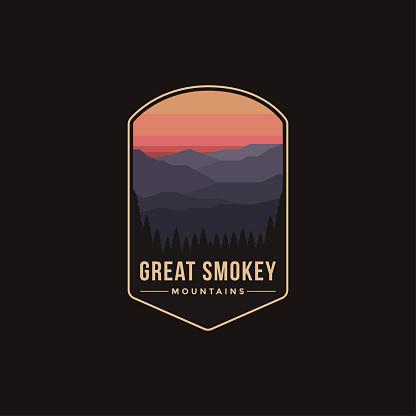 Emblem patch illustration of Great Smokey Mountains National Park on dark background