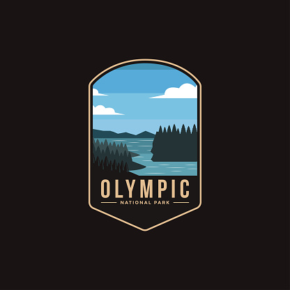 Emblem patch illustration of Olympic National Park on dark background