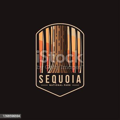 Emblem patch illustration of Sequoia National Park on dark background