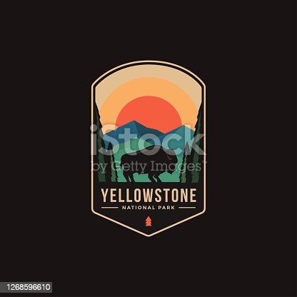 Emblem patch illustration of Yellowstone National Park on dark background
