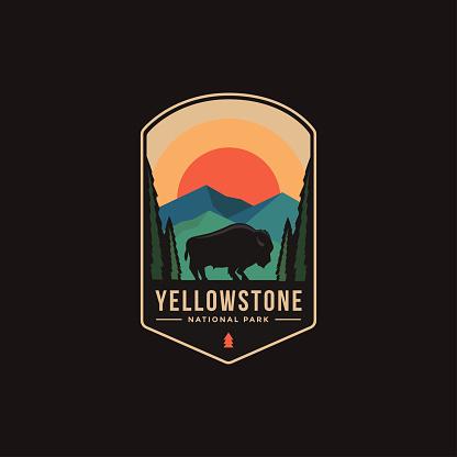 Emblem patch illustration of Yellowstone National Park on dark background