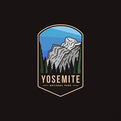Emblem patch illustration of Yosemite National Park on dark background