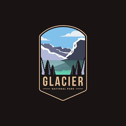 Emblem patch logo illustration of Glacier National Park on dark background