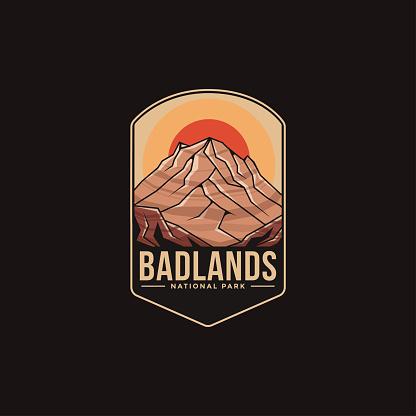 Emblem patch vector illustration of Badlands National Park on dark background