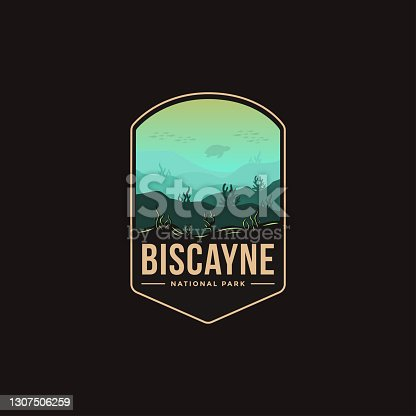 Emblem patch vector illustration of Biscayne National Park on dark background