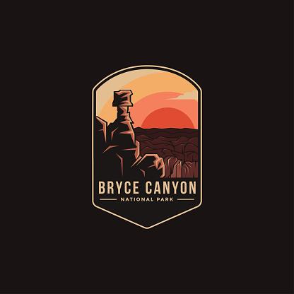 Emblem patch vector illustration of Bryce Canyon National Park on dark background