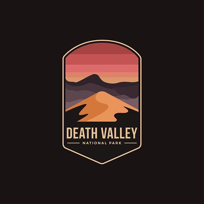 Emblem patch vector illustration of Death Valley National Park on dark background