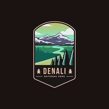 Emblem patch vector illustration of Denali National Park on dark background
