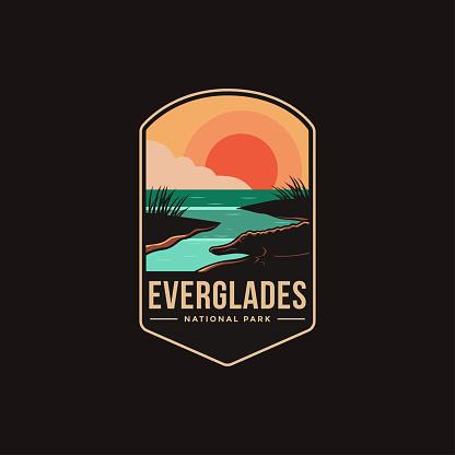 Emblem patch vector illustration of Everglades National Park on dark background