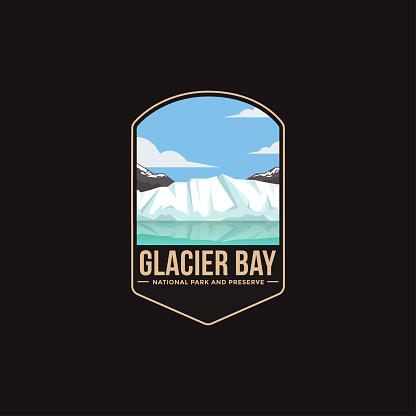 Emblem patch vector illustration of Glacier Bay National Park and Preserve National Park on dark background