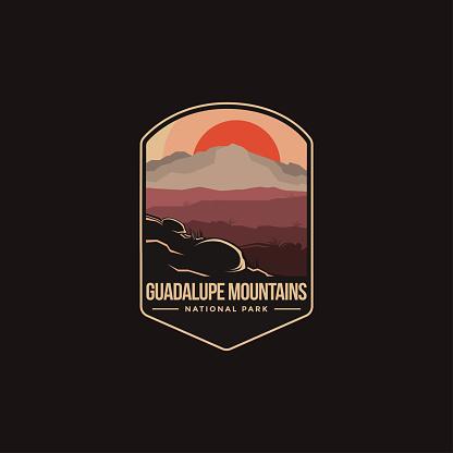 Emblem patch vector illustration of Guadalupe Mountains National park on dark background