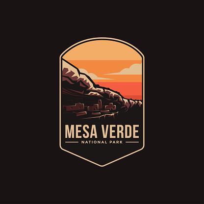 Emblem patch vector illustration of Mesa Verde National Park on dark background