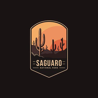 Emblem patch vector illustration of Saguaro National Park on dark background