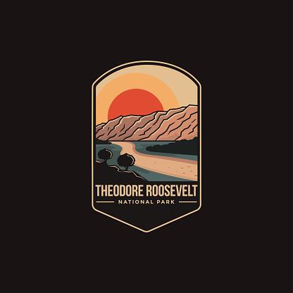 Emblem patch vector illustration of Theodore Roosevelt National Park on dark background