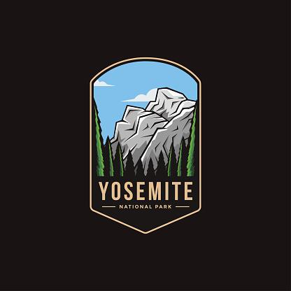 Emblem patch vector illustration of Yosemite National Park on dark background