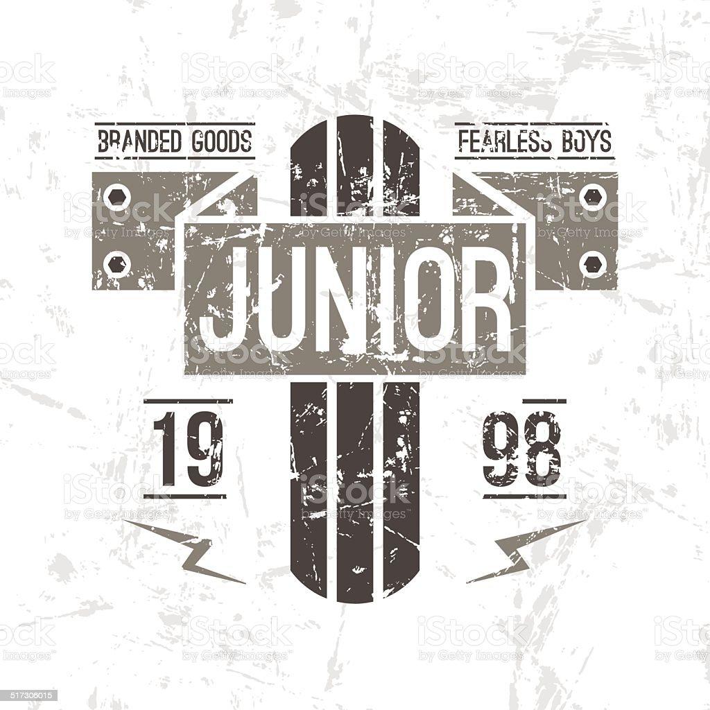 Emblem racing junior in retro style