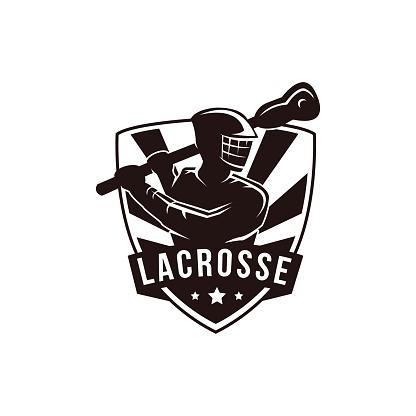 Emblem Seal badge Lacrosse man Team illustration vector template on white background