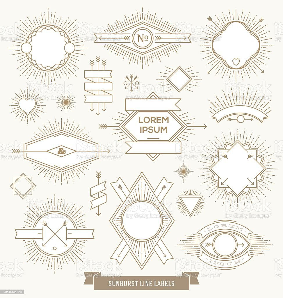 Emblem, sign and hipster labels with sunburst rays vector art illustration