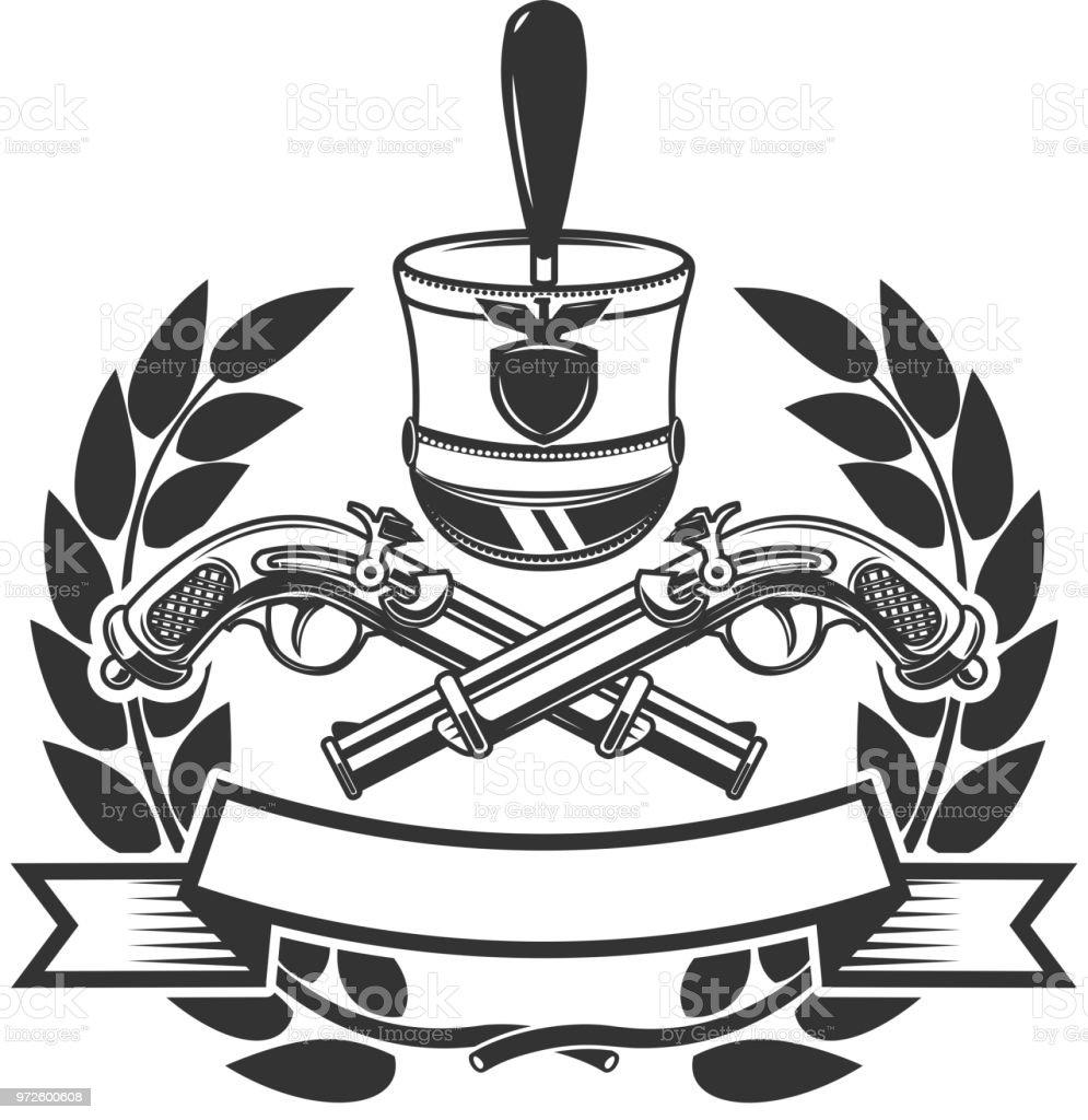 Ilustración de Plantilla De Emblema Con Pistolas De Mano Antigua ...