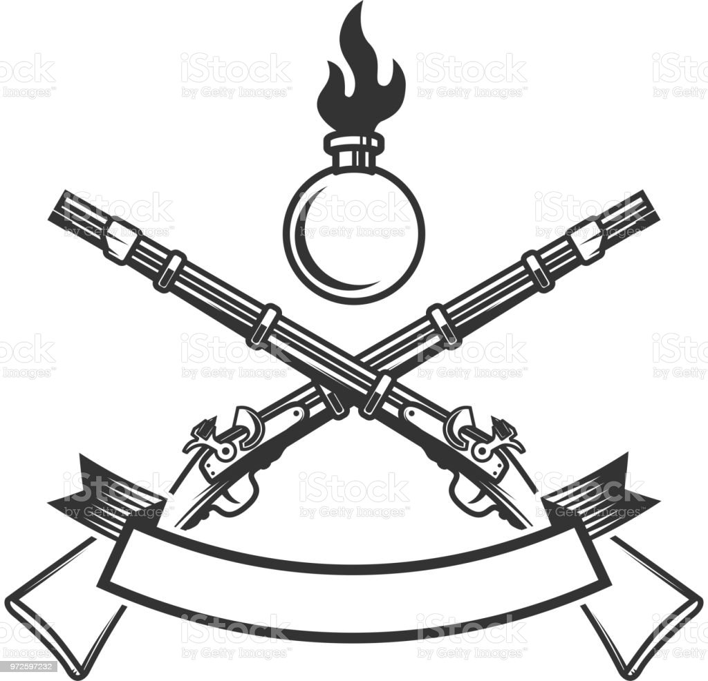 Ilustración de Plantilla De Emblema Con Rifle Antiguo Elemento De ...