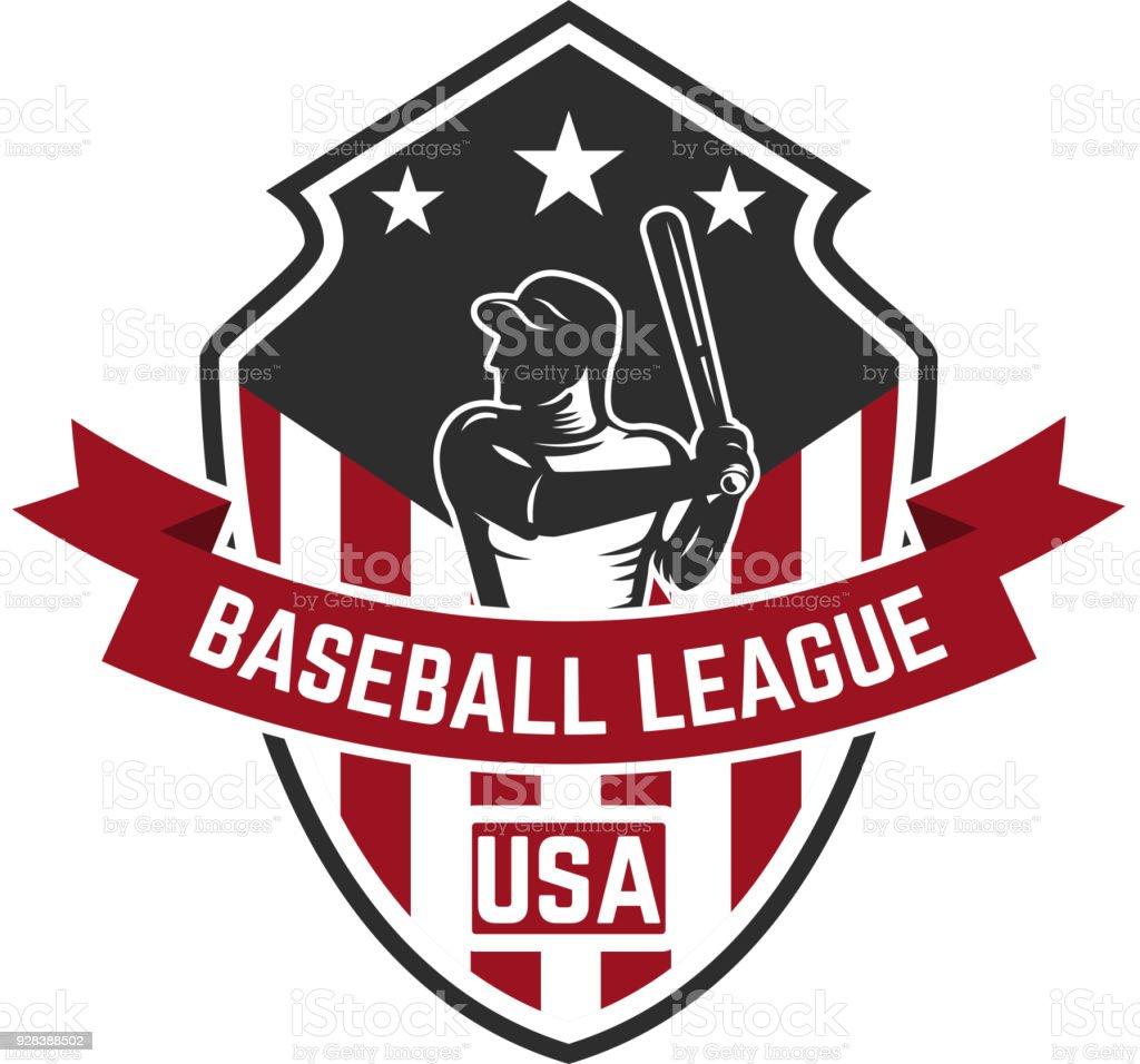 Emblemvorlage Mit Baseballspieler Gestaltungselement Für Label ...