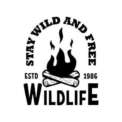 Emblem template with campfire. Design element for greeting card, t shirt, poster. Vector illustration