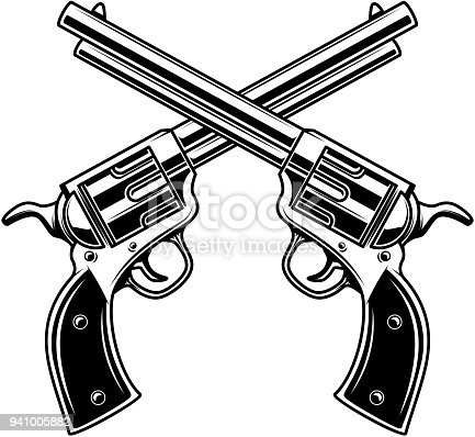 Emblem template with crossed revolvers. Design element for  label, emblem, sign. Vector illustration