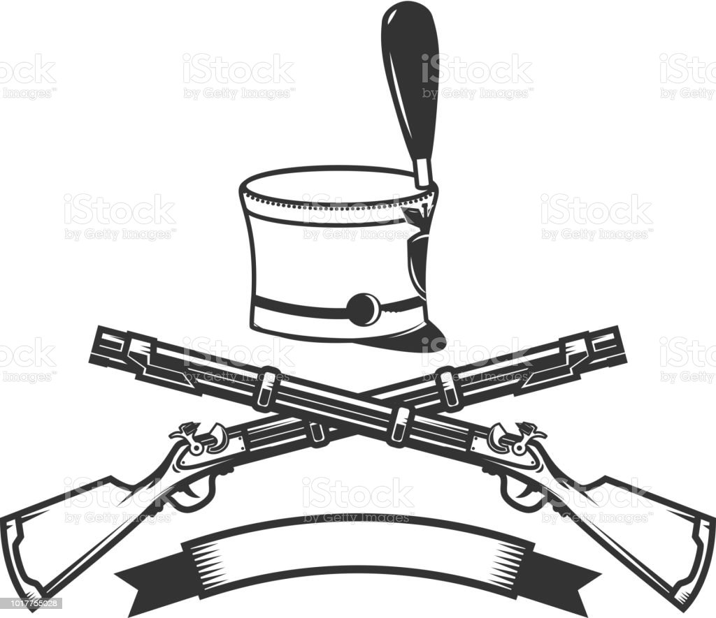 emblem template with crossed rifles and hussar hat design element
